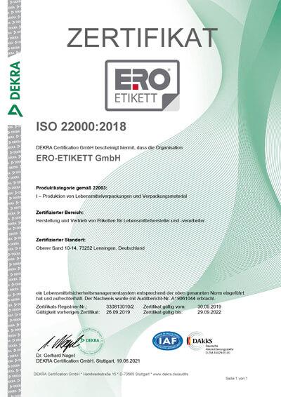 Zertifikat ISO 22001